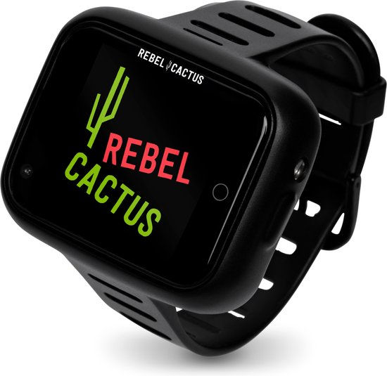 Rebel Cactus Bold Black - Kids smartwatch -  beste GPS Tracker van NL - SOS - Waterproof - Games - Muziek