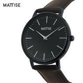 MATTISE Unisex Zwart Horloge met Zwart Horlogebandje van Echt Leer — Meis3 38 mm Quartz Heren Horloge Dames — Horloge voor Mannen Horloge voor Vrouwen — Horloges Horologe Uurwerk Mannen Uurwerk Vrouwen Uurwerken
