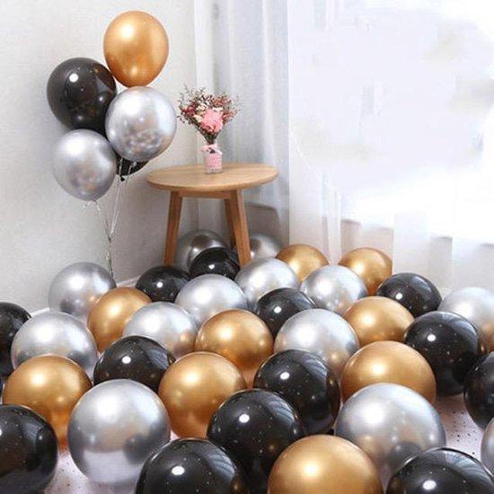 Goud Zilver Zwart   Kleine Ballonnen   9 stuks   Baby Shower - Kraamfeest - Verjaardag - Geboorte - Fotoshoot - Wedding - Marriage - Birthday - Party - Feest - Event - Jubileum - Valentijn - Huwelijk