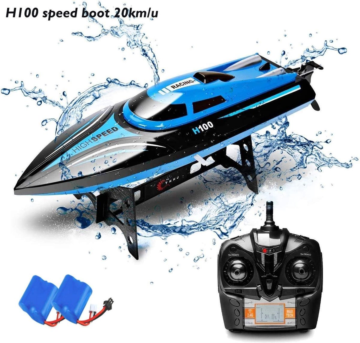 RC Race Boot H100- High Speed Racing Boat 2.4GHZ - Skytech SPEED 20KM -radiografisch boot ( 2x accu)