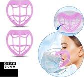 Bracket 3D voor mondkapje - 2 stuks - innermask - vergemakkelijkt ademhaling - beschermt make up - herbruikbaar - roze - GEAR3000®