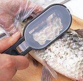 Duurzaam Visfileermes - Vis Schubben Schraper met Handig Opvangbakje en Uitklapbaar Scherp Fileer Mes - Zwart
