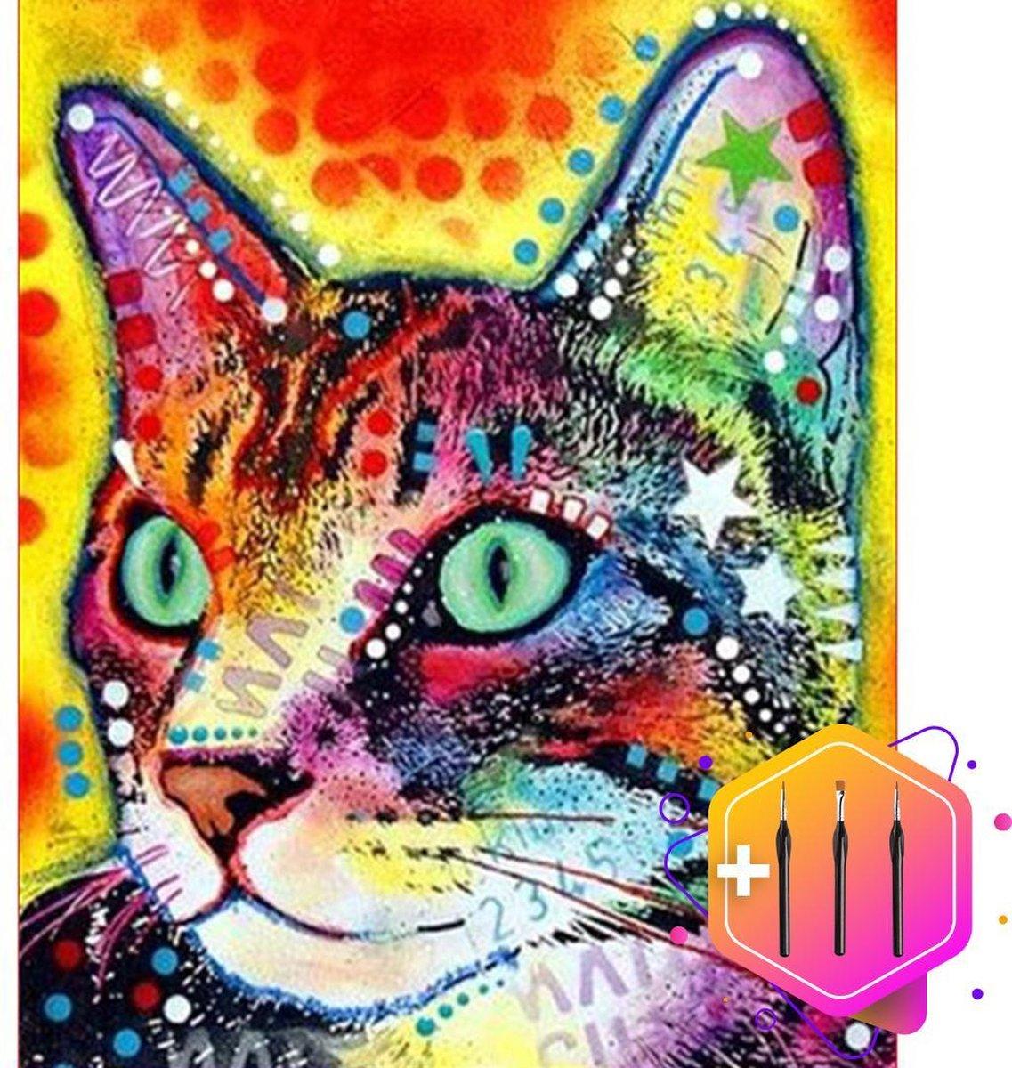Pcasso ® Kat Met Sterren - Schilderen Op Nummer - Incl. 6 Ergonomische Penselen En Geschenkverpakking - Schilderen Op Nummer Dieren - Schilderen Op Nummer Volwassenen - Canvas Schilderdoek - Kleuren Op Nummer - Paint By Number - 40x50 cm -