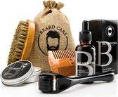 Baardverzorging set + Baard / Derma roller - Baardolie - Balsem - kam - Borstel - Giftset - Geschenkset - voor Mannen - Groei - Baard - Set - Kado man