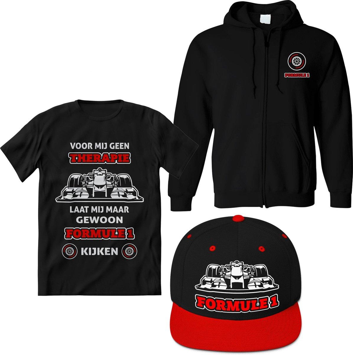Formule 1 T-Shirt 3 in 1 set Heren / Dames – Design Race shirt Dames Rood – Perfect f1 raceauto Cadeau – Grappig Auto Racing tekst shirt - Maat M