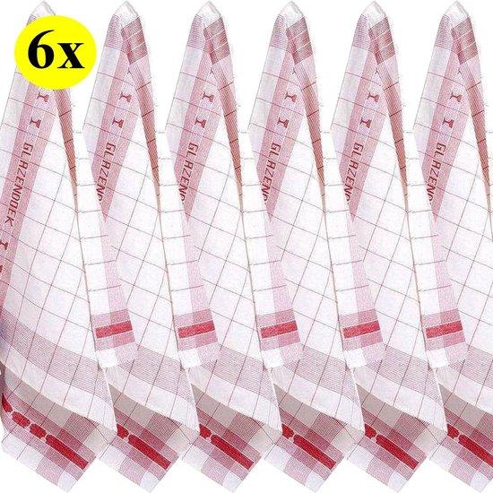 Glazendoeken - Poleerdoeken - 50% Linnen - 6 stuks - Rood