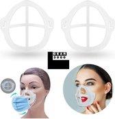 Bracket 3D voor mondkapje - 2 stuks - binnenmasker - vergemakkelijkt ademhaling - beschermt make up - lipstick - lipgloss - herbruikbaar - GEAR3000®