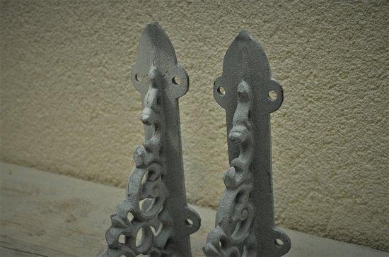 Kolony, Plankdrager gietijzer, grijs, betonlook, 15 cm per 2 verpakt.