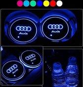 Lichtgevende Audi LED onderzetters - Auto binnerverlichting - Verschillende kleuren LED - Opladen via USB - 2 stuks