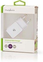 Nedis Wandoplader / oplader / adapter 2,1A 1 USB-A Uitgang  Wit WCHAU211AWT