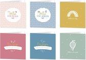 Wenskaarten geboorte - set van 6 dubbele kaarten - inclusief enveloppen