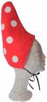 2x Kinder kabouter mutsjes rood met witte stippen - Herfst/sprookjes/kabouter thema verkleedkleding