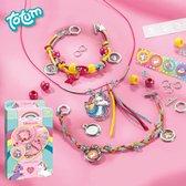 Totum unicorn rainbow jewellery - unicorn regenboogsieraden maken - 2 armbandjes & kettinkje