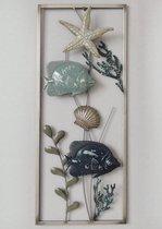 Wanddecoratie - Metaal schilderij - vissen - zeedieren - 25x60