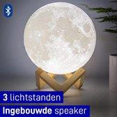 MikaMax - Maanlamp - ø18cm - Origineel - Bluetooth speaker - Dimbaar licht met 3 kleurstanden - 3D print