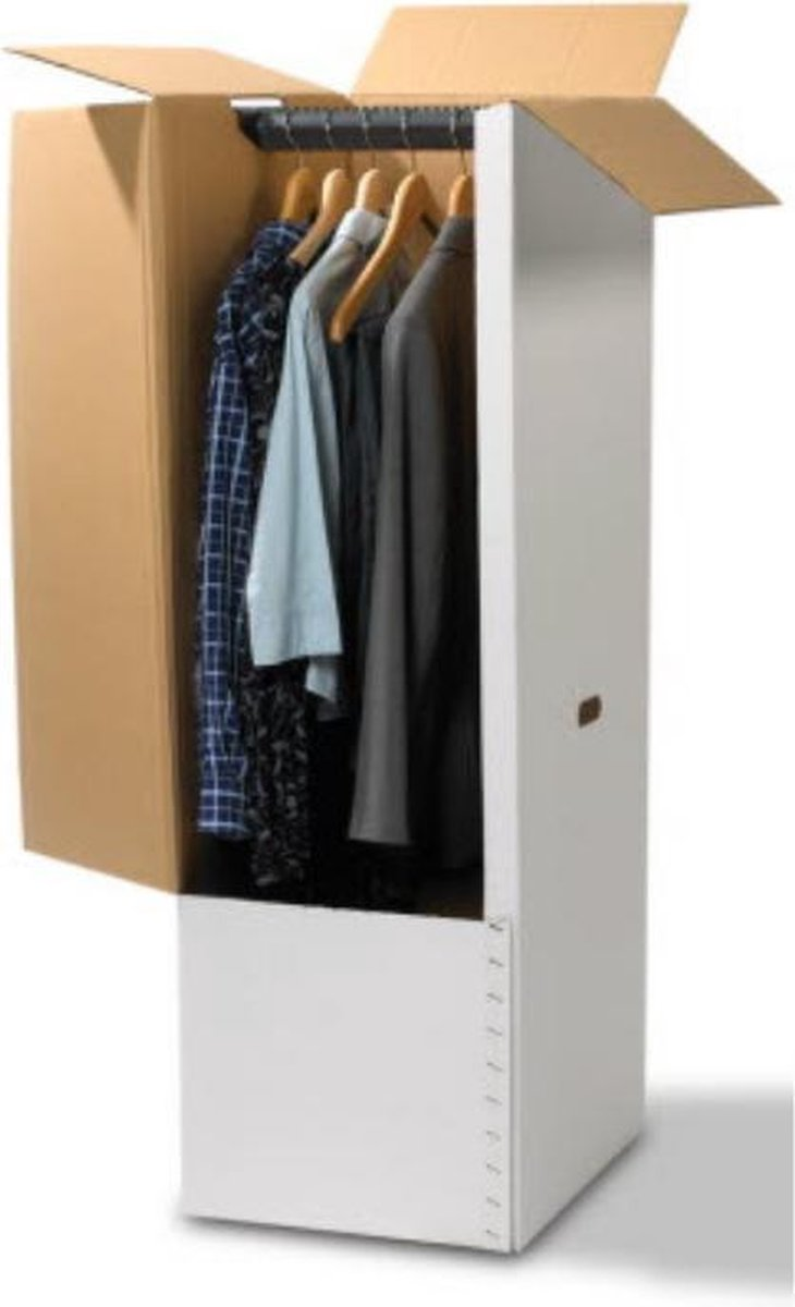 Verhuisdoos voor Kleding - Garderobebox - Kledingdoos - Garderobedoos - Inclusief roede - Extra ster