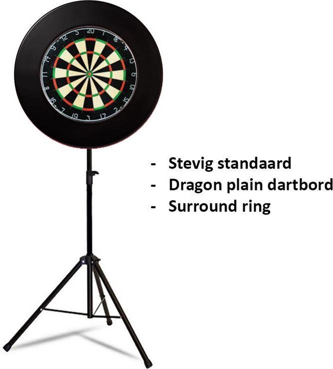 Dragon darts - Portable dartbord standaard pakket - inclusief best geteste - dartbord en - dartbord surround ring - zwart