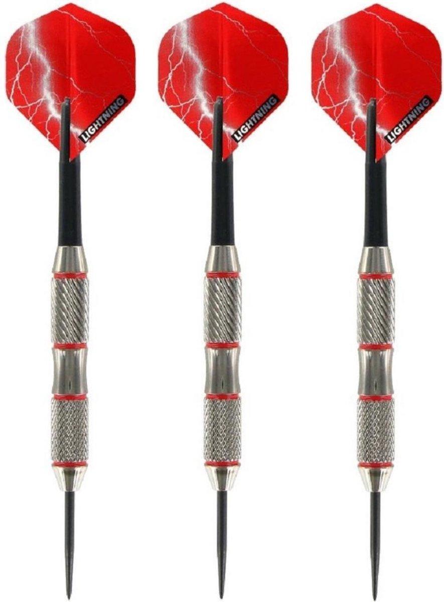 1x Set van 3 dartpijlen Blackjack Brass Red 21 grams - Darten/darts sport artikelen pijltjes messing