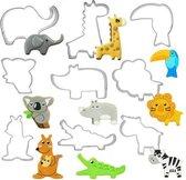 Koekjesdeeg uitsteekvormen - set van 9 stuks met dieren RVS Cookie cutters - Olifant, Giraffe, Toekan, Koala, Neushoorn, Leeuw, Kangaroe, Krokodil en Koe