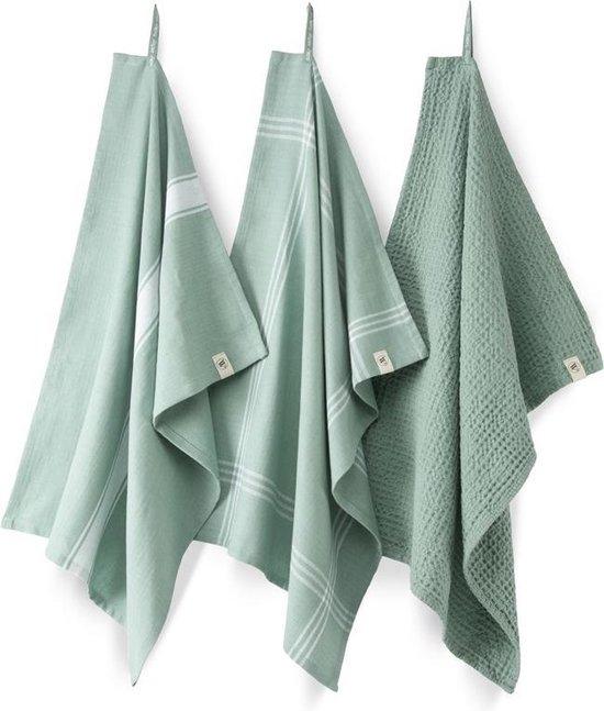 Fraaie Katoen Keukendoekenset/Theedoekenset Groen | 50x70 | Set Van 3 | Hoogwaardige Kwaliteit