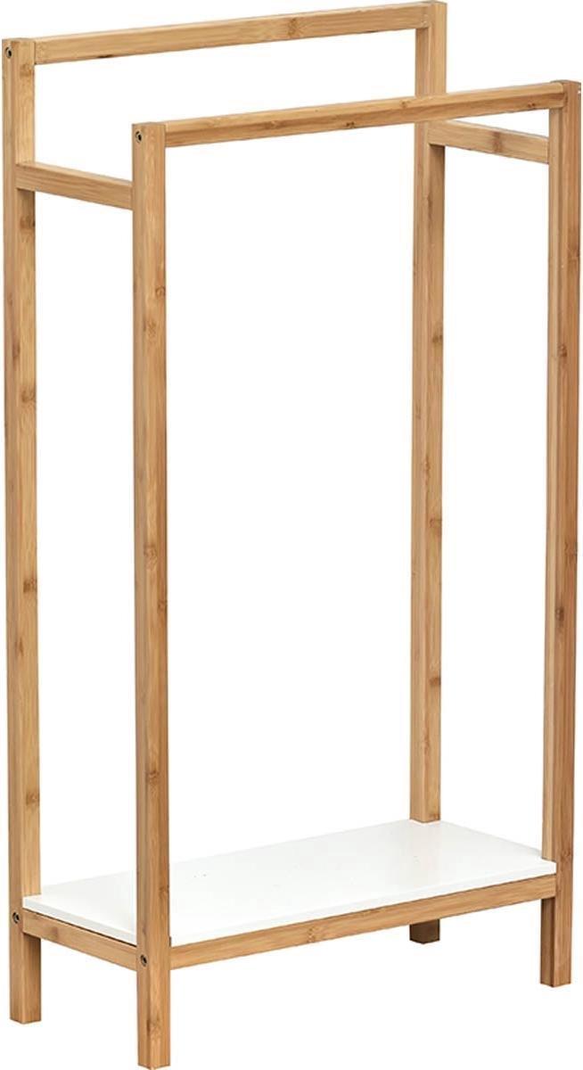 4goodz stabiel Bamboe staande handdoekhouder met legplank - Wit/Bruin