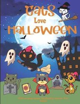 Cats love Halloween Coloring and activity book for kids