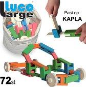 Luco Large ECO Blokken en plankjes. Met verbindingsstukken en wielen, past op KAPLA, Bblocks. Duurzame constructieset hout. 72 elementen.