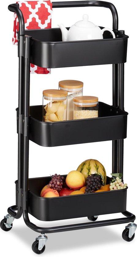 relaxdays keukentrolley metaal - opbergtrolley 3 etages - serveerwagen serveerwagen keuken zwart