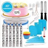 Yumi® Complete Taart Cake Decoratie Set - herbruikbare Spuitzakken En RVS Spuitmondjes - XL Draaibare Taartplateau - Inclusief E-book