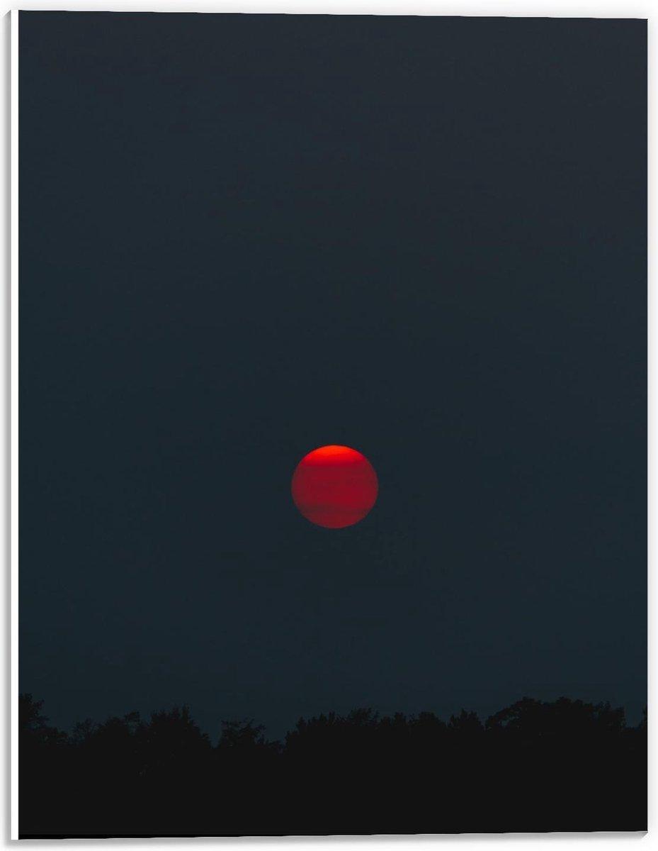 Forex - Rode Maan  - 30x40cm Foto op Forex