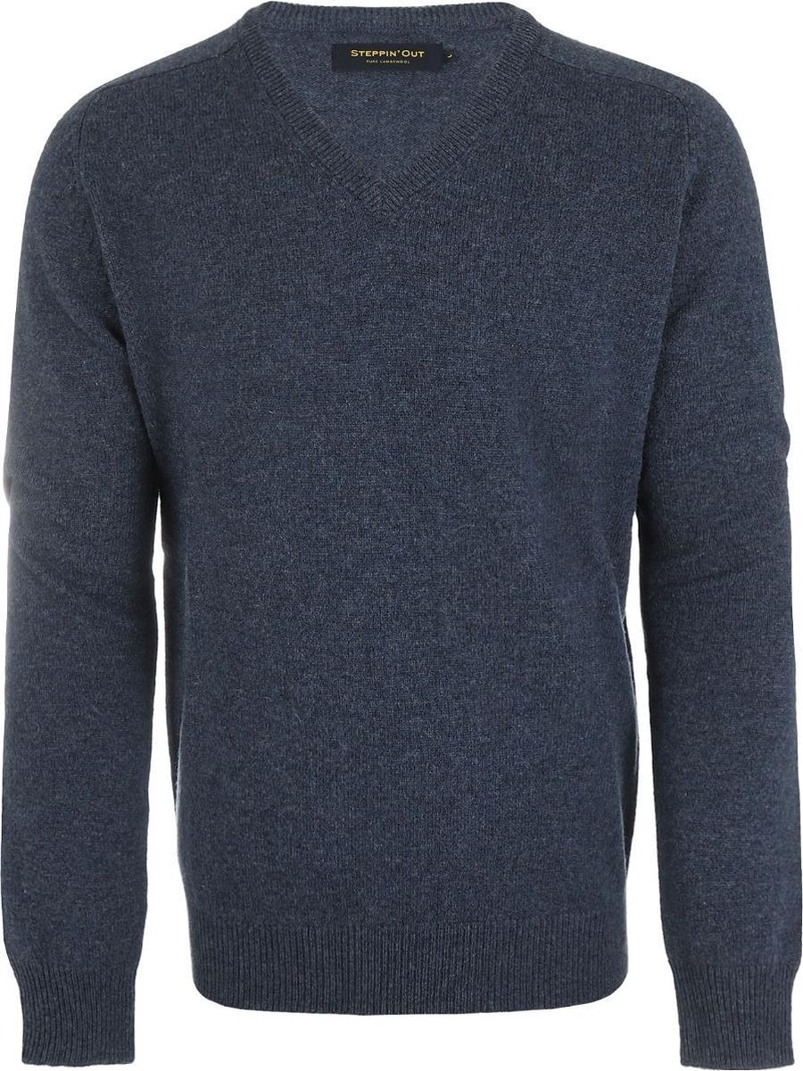 Steppin' Out Mannen Trui Lamswol V-neck Blauw Lamswol Maat: M
