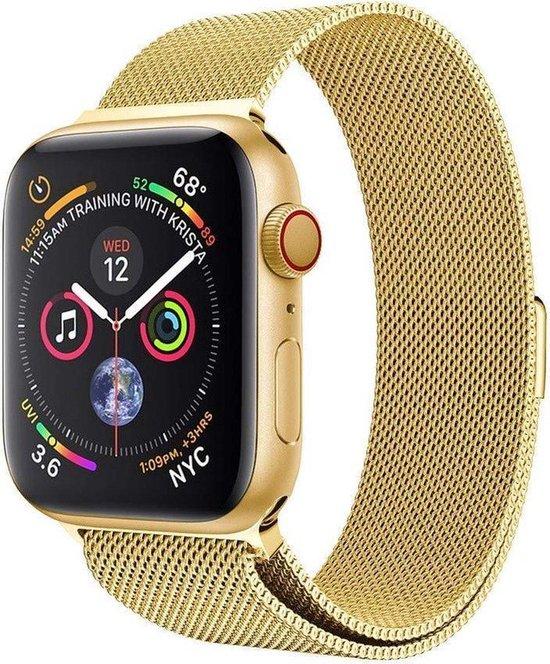 Luxe Milanese Loop Armband Voor Apple Watch Series 1/2/3/4/5/6/SE 38/40 mm Horloge Bandje - Metalen iWatch Milanees Watchband Polsband - Stainless Steel Mesh Watch Band - Horlogeband - Magneet Sluiting -  Goud Kleurig