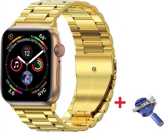 Luxe Metalen Armband Voor Apple Watch Series 1/2/3/4/5/6/SE 42/44 mm Horloge Bandje - iWatch Schakel Polsband Strap RVS - Met Horlogeband Inkortset - Stainless Steel Watch Band - One-Size - Goud Kleurig