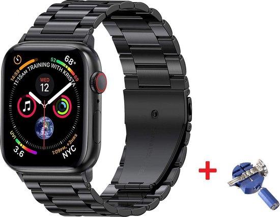 Luxe Metalen Armband Voor Apple Watch Series 1/2/3/4/5/6/SE 38/40 mm Horloge Bandje - iWatch Schakel Polsband Strap RVS - Met Horlogeband Inkorter - Stainless Steel Watch Band - One-Size - Zwart