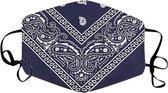 Mondkapje Paisley - Wasbaar - Katoen - Herbruikbaar - Boerenzakdoek bandana patroon