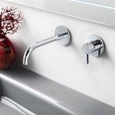 Wastafelmengkraan Hotbath Laddy Inbouw 3+3 systeem Geborsteld Nikkel