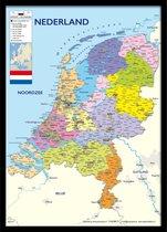 Nederland kaart luxe poster ingelijst in mooie houten zwarte fotolijst -aanbieding formaat 50x70cm