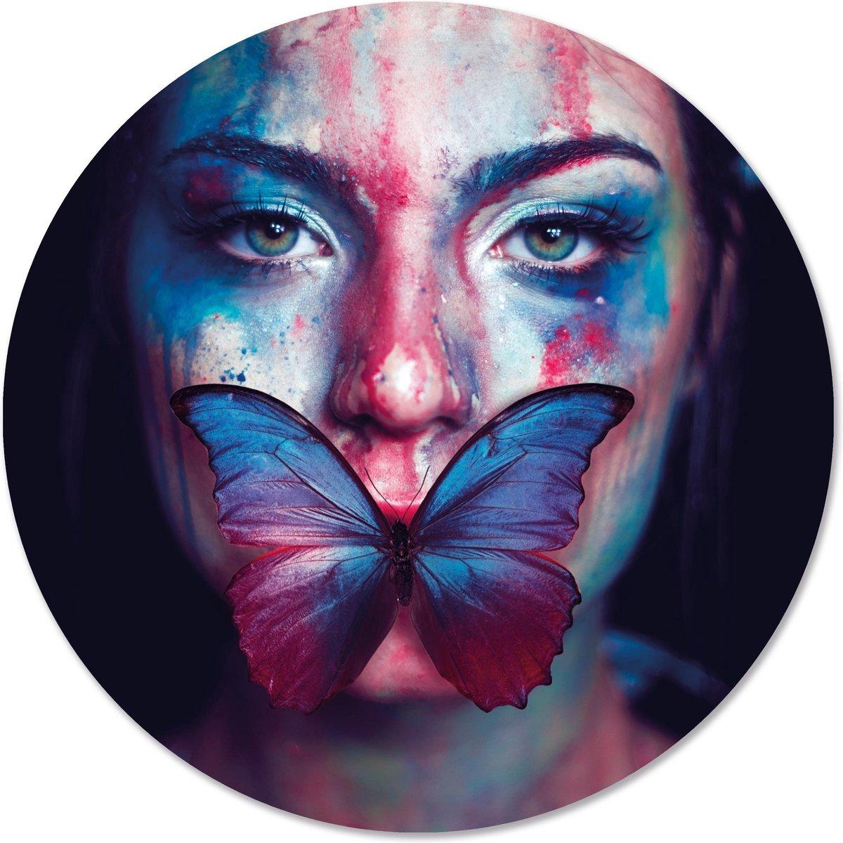 Label2X Muurcirkel vlinder - Ø 12 cm - Dibond (binnen & buiten)