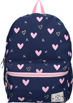Milky Kiss Young, Wild & Free Pink Hearts Rugzak - 13,6 l - Navy Blauw