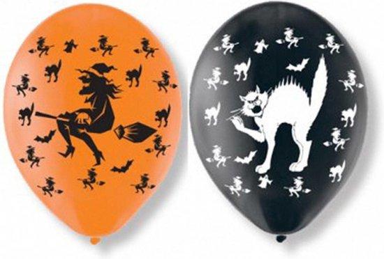 Set van 12x stuks Halloween ballonnen met heksen en katten print 27,5 cm - Halloween / horror feestversiering/decoratie