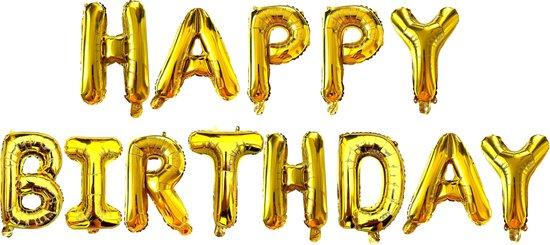 Happy Birthday - Ballonnen - Goud - Happy Birthday Slinger - Verjaardag Ballonnen - Happy Birthday Decoratie - Happy Birthday Versiering - Happy Birthday Letters - Fienosa