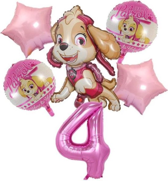 Ballonnen - set van 6 folieballonnen - Paw Patrol - Skye - 4 jaar