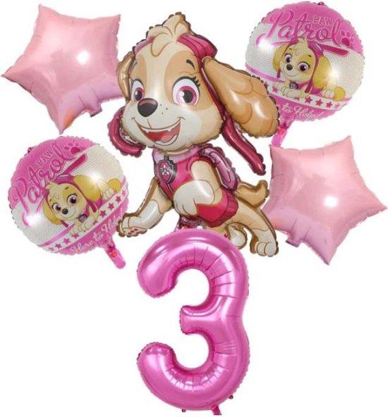Ballonnen - set van 6 folieballonnen - Paw Patrol - Skye - 3 jaar