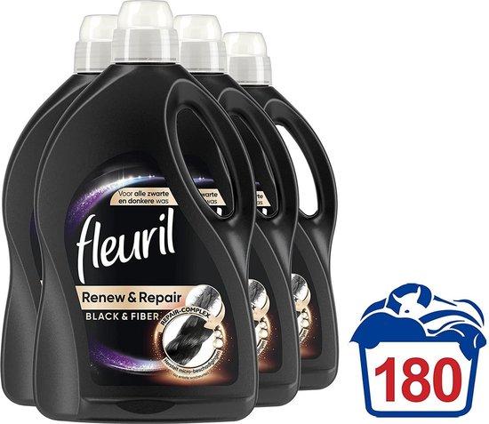 Fleuril Renew & Repair Black & Fiber Wasmiddel - Donkere Was - 4x45 wasbeurten Vanavondinhuis voordeelverpakking.