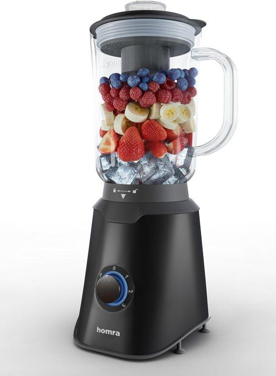 Homra Blender met glazen schenk kan - 1500 ml - 1000 Watt - Zwart - RVS - Met Handige Maatbeker - BPA vrij - 1,5 Liter - 3 Standen - Anti-Slip onderkant - Pulse Knop - Mengkom van Glas - Smoothie Mixer - IJscrush – Vaatwasserbestendig