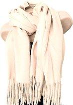 Lange Warme Dames Sjaal - Effen - Unisex - Roomwit - 180 x 78 (SH20)