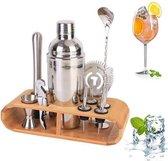 Luxe 12-delige Cocktail shaker set van Swissl®| cocktailset | coktail shaker 750ml | cocktail set | cocktail onderdelen | cocktail schenker | ijsstamper | maatbeker | kurkentrekker | dubbele jigger | zilver | Hoogwaardig RVS | Shaker kit | Barman kit