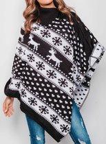 Foute Kersttrui Dames - Christmas Sweater - Poncho Zwart Wit - Maat M