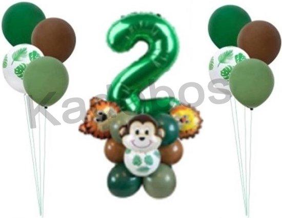 Safari ballonnen set verjaardag 2 jaar - Folie ballon jungle Leeuw Aap Tijger - 26 delig