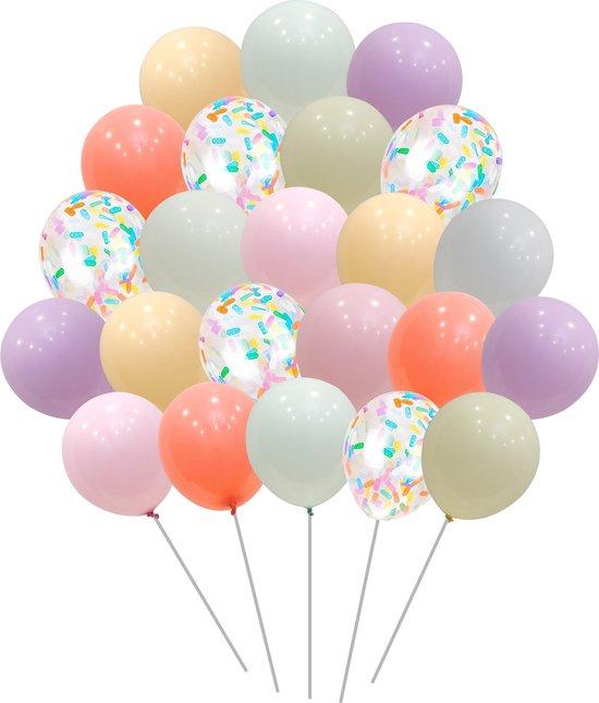 50 stuks Pastel Gekleurde Feest Papieren Confetti ballonnen MagieQ Verjaardag Versiering - Regenboog Unicorn Ballonnenboog - Latex - Helium